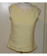 Harve Benard Yellow white stretch Striped Tank Top sz L (M) Light Soft N... - $4.99