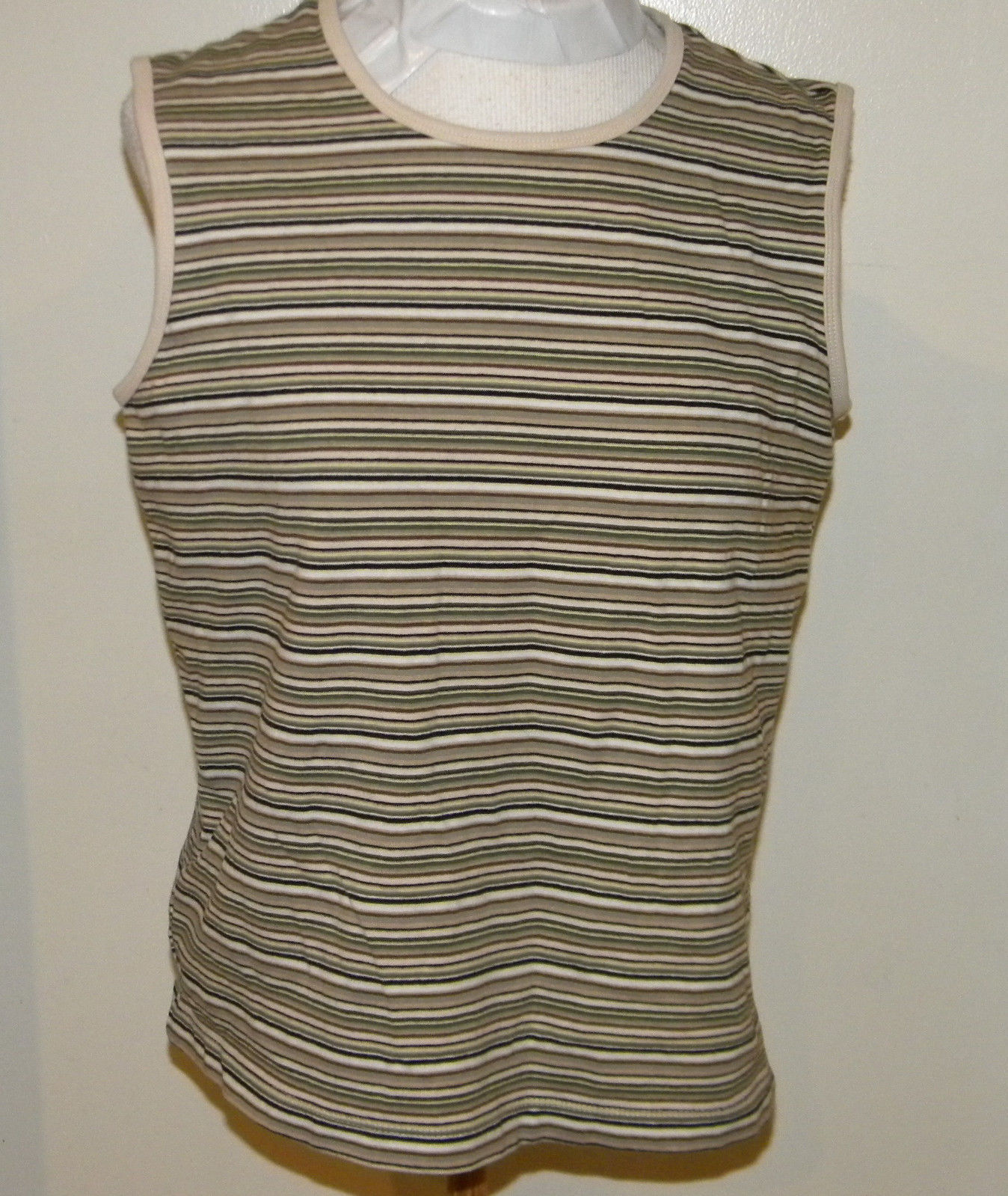 d2756fa36f33b9 57. 57. Previous. White Stag Brown white cowl neck stretch Striped Tank Top  sz L great cond. NICE