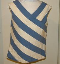 e69f220370cbbd White Stag Blue white V-neck slimming Striped Tank Top sz L In great cond