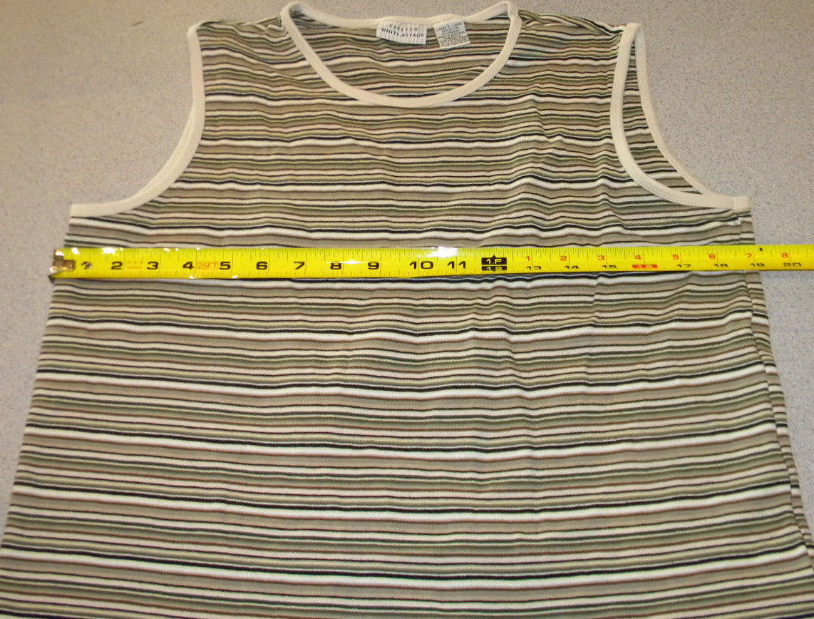 4aa0f92daaeaf4 White Stag Brown white cowl neck stretch Striped Tank Top sz L great cond.  NICE