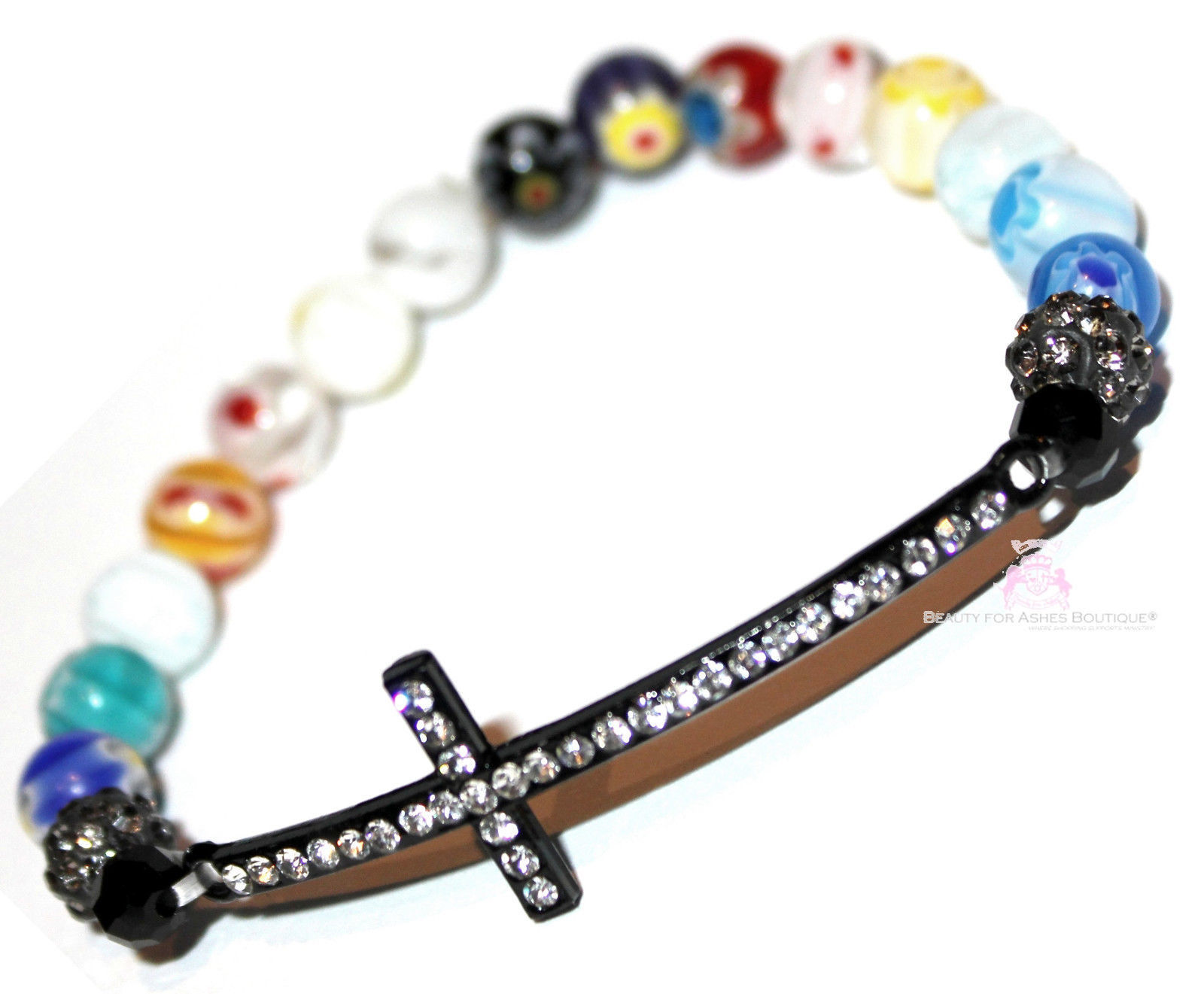 Primary image for Divine Destiny Murano Bead Crystal Multi Color Colorful Cross Stretch Bracelet