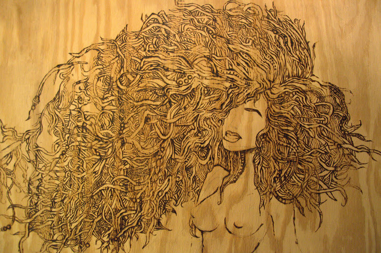 Large Flemish Style Pyrography Wood Burning of nude woman