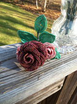 Beaded Red Rose Flower Bunch with Wire Stem
