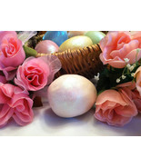 Ceramic Creamy White Colored Egg for Easter Display - glitter glazed and... - $34.99