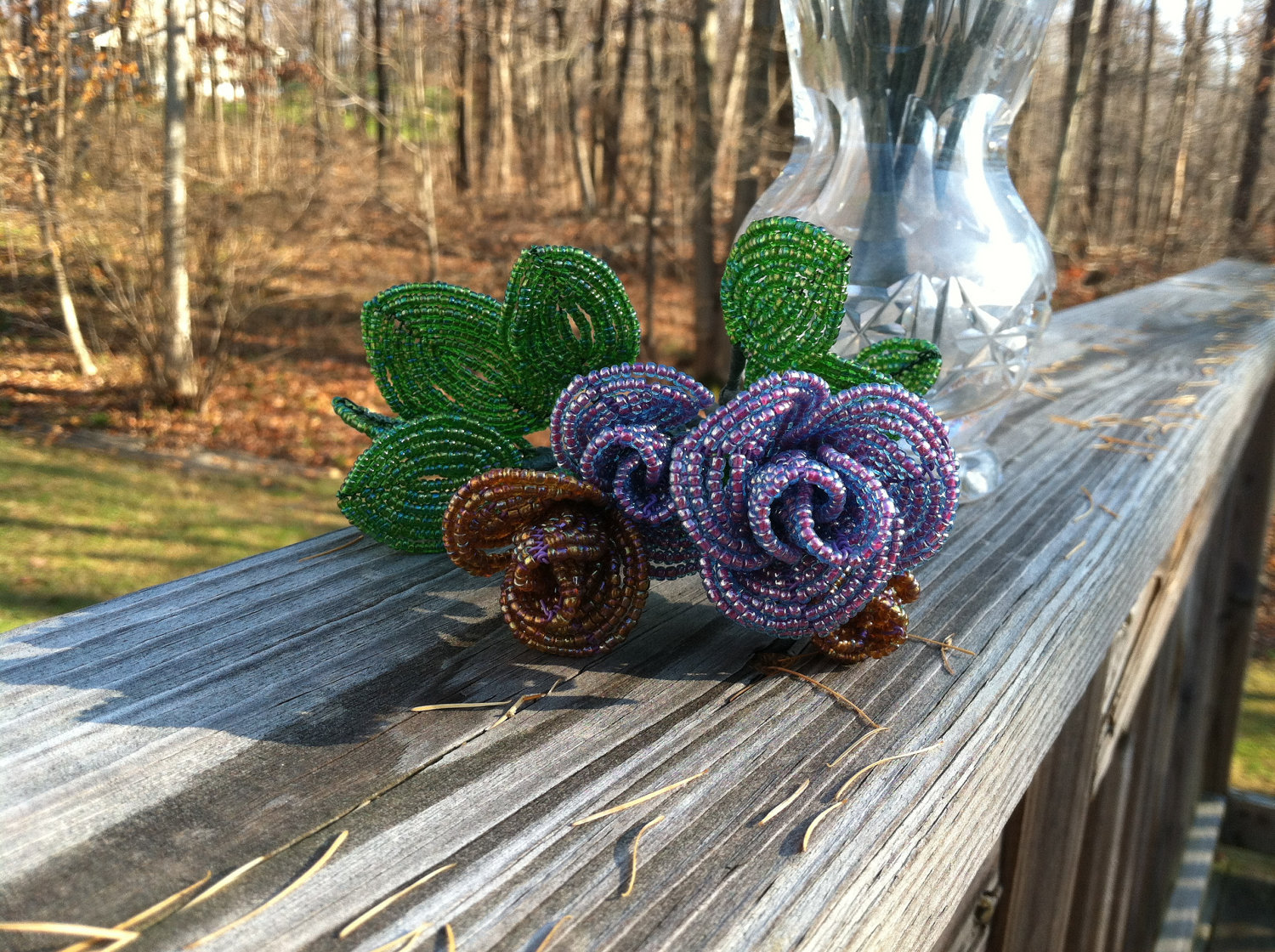 Beaded Purple Rose Flower Bunch with Wire Stem