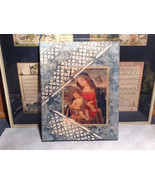 Antiqued Look Icon Russian Handmade Mixed Media Collage Canvas, 8x10 - $50.00