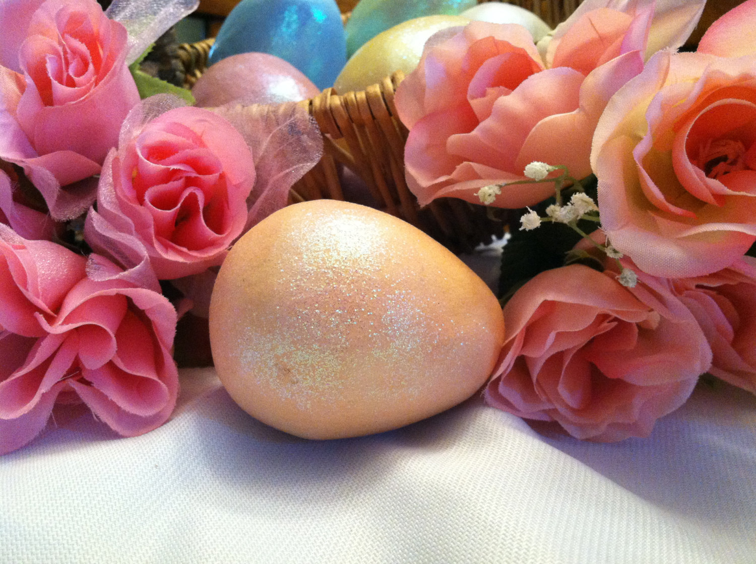 Ceramic Peach Orange Colored Egg for Easter Display - glitter glazed and with ra