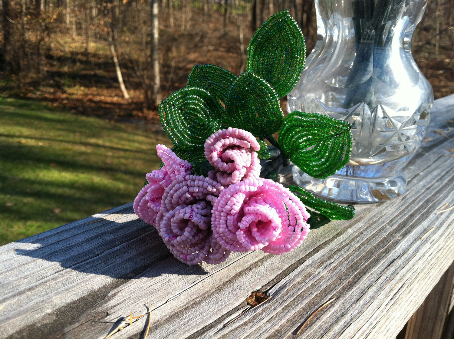 Beaded Pink Rose Flower Bunch with Wire Stem