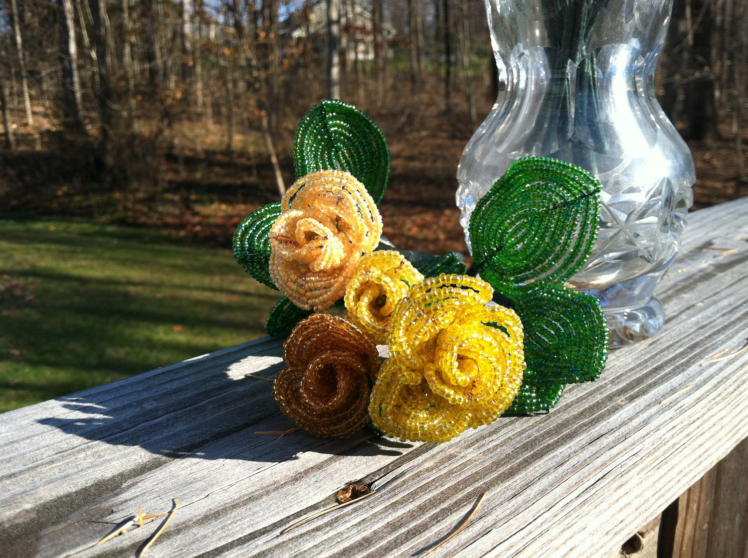 Beaded Canary Yellow Rose Flower Bunch with Wire Stem