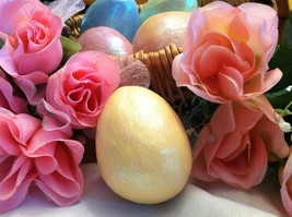 Ceramic Pastel Yellow Egg for Easter Display - glitter glazed and with rattle in