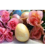 Ceramic Pastel Yellow Egg for Easter Display - glitter glazed and with r... - $34.99
