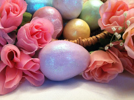 Ceramic Pastel lavender Colored Egg for Easter Display glitter glazed and with