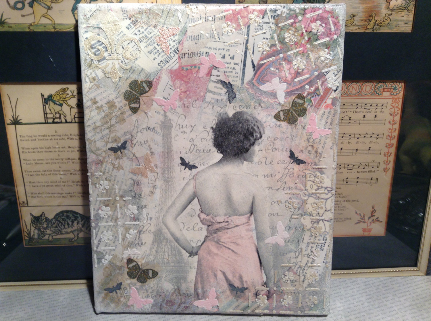 Russian Handmade Mixed Media Collage Canvas, 8x10, Woman in Pink Dress