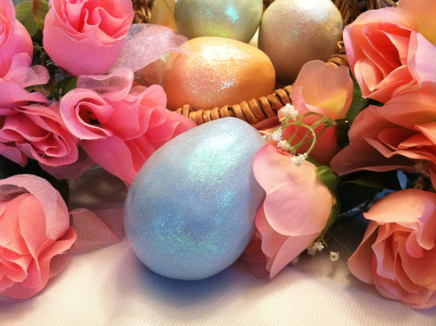 Ceramic Sky Blue Egg for Easter Display - glitter glazed with rattle inside