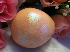 Ceramic Peach Orange Colored Egg for Easter Display - glitter glazed and with ra image 2