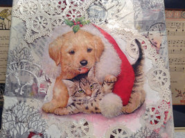 """Russian Handmade Mixed Media Collage Canvas, Kitten And Puppy, 8"""" X 10"""" image 2"""
