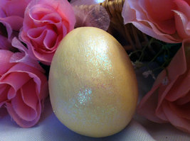 Ceramic Pastel Yellow Egg for Easter Display - glitter glazed and with rattle in image 2