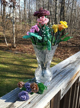 Beaded Purple Rose Flower Bunch with Wire Stem image 2