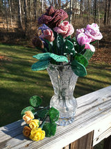 Beaded Canary Yellow Rose Flower Bunch with Wire Stem image 2