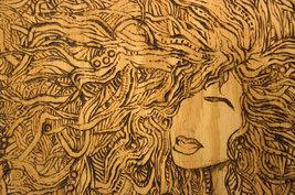 Large Flemish Style Pyrography Wood Burning of nude woman image 3