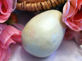 Ceramic Pastel Green Egg for Spring Display - glitter glazed with rattle inside image 2