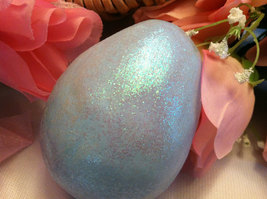 Ceramic Sky Blue Egg for Easter Display - glitter glazed with rattle inside image 2