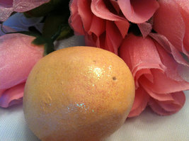 Ceramic Peach Orange Colored Egg for Easter Display - glitter glazed and with ra image 3