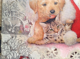 """Russian Handmade Mixed Media Collage Canvas, Kitten And Puppy, 8"""" X 10"""" image 3"""