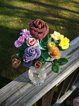 Beaded Canary Yellow Rose Flower Bunch with Wire Stem image 3
