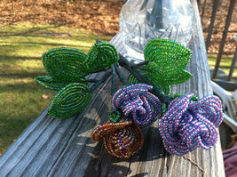 Beaded Purple Rose Flower Bunch with Wire Stem image 3