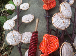 Beaded Cattails Fall Flower Bunch with Wire Stem image 3