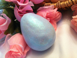 Ceramic Sky Blue Egg for Easter Display - glitter glazed with rattle inside image 3