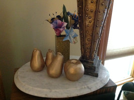 Gold Frosted ceramic apple or pear your choice perfect for display OR stage prop image 3