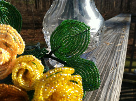 Beaded Canary Yellow Rose Flower Bunch with Wire Stem image 4