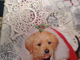"""Russian Handmade Mixed Media Collage Canvas, Kitten And Puppy, 8"""" X 10"""" image 4"""