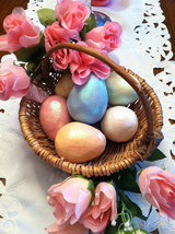 Ceramic Pastel Yellow Egg for Easter Display - glitter glazed and with rattle in image 4