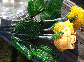 Beaded Canary Yellow Rose Flower Bunch with Wire Stem image 5