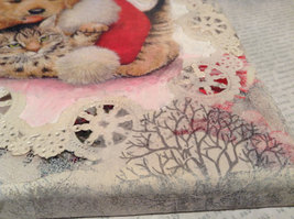 """Russian Handmade Mixed Media Collage Canvas, Kitten And Puppy, 8"""" X 10"""" image 5"""