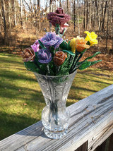 Beaded Purple Rose Flower Bunch with Wire Stem image 5