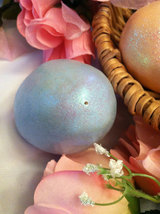 Ceramic Sky Blue Egg for Easter Display - glitter glazed with rattle inside image 4