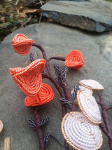 Beaded Cattails Fall Flower Bunch with Wire Stem image 5
