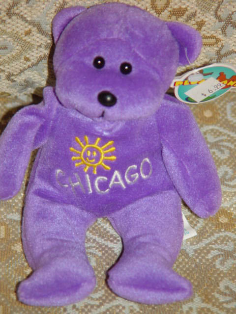 Primary image for PlushLand  2000 Chicago Purple Plush Bean bag Bear Hil