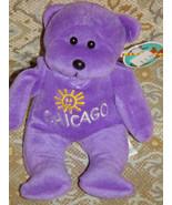 PlushLand  2000 Chicago Purple Plush Bean bag Bear Hil - $19.00