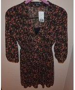 Forever 21 Rose Print Tie Neck Chiffon Dress 3/4 Sleeve Size Small - $6.00