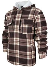 Men's Heavyweight Flannel Zip Up Fleece Lined Plaid Sherpa Hoodie Jacket image 5