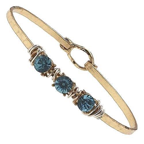 Hammered Gold Wire Wrapped Rhinestone Latch Bracelet - Aqua Crystal