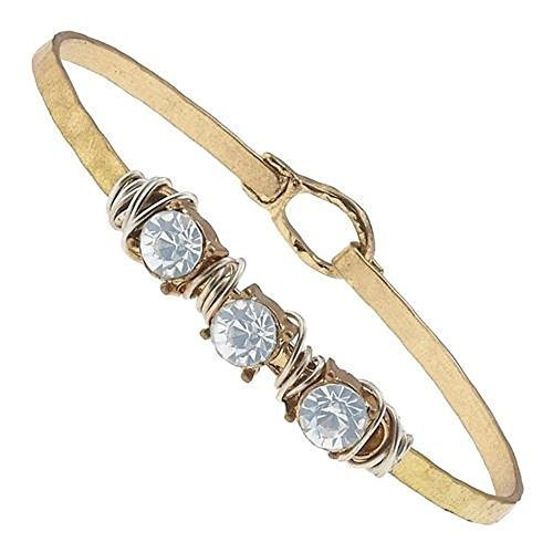 Hammered Gold Wire Wrapped Rhinestone Latch Bracelet - Ice Blue Crystal