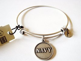"Authentic Bella Ryann ""Navy"" adjustable wire bangle silver (Same day shipping)"