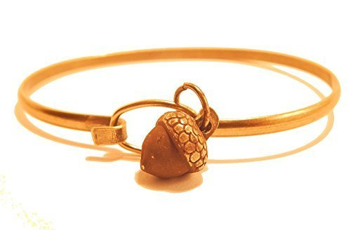 Acorn Tree Charm Bangle Bracelet (Brown)
