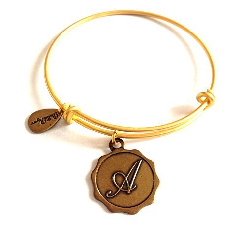 "Bella Ryann Letter ""A"" Gold Charm Bangle Bracelet"